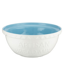 White & blue earthenware mixing bowl 29cm