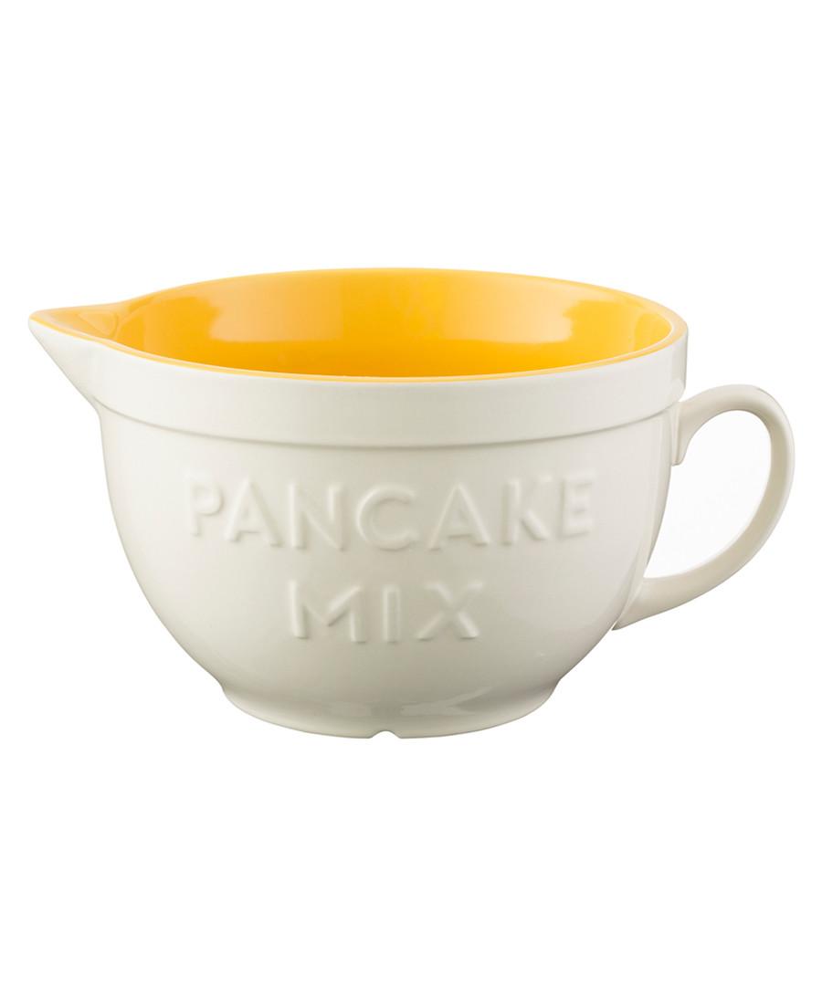 Yellow & white stoneware batter bowl 25cm Sale - mason cash