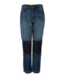 Wynne blue high-rise crop straight jeans