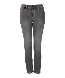 Sadey grey mid-rise slim straight jeans