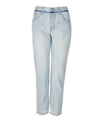 Wynne blue high-rise crop straight jeans
