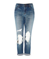 Sadey blue mid-rise slim straight jeans