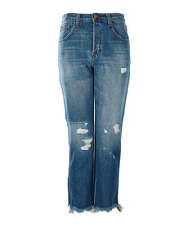 Wynne blue high-rise cropped jeans