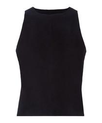 Trevia black cotton blend tank top