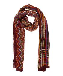 Burgundy wool & silk blend pattern scarf