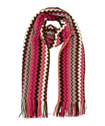 Pink wool blend zig-zag knit scarf