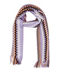 Lilac wool blend zig-zag knit scarf