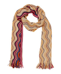 Multi-colour wool & cashmere blend scarf