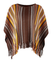 Multi-colour wool blend fringe poncho