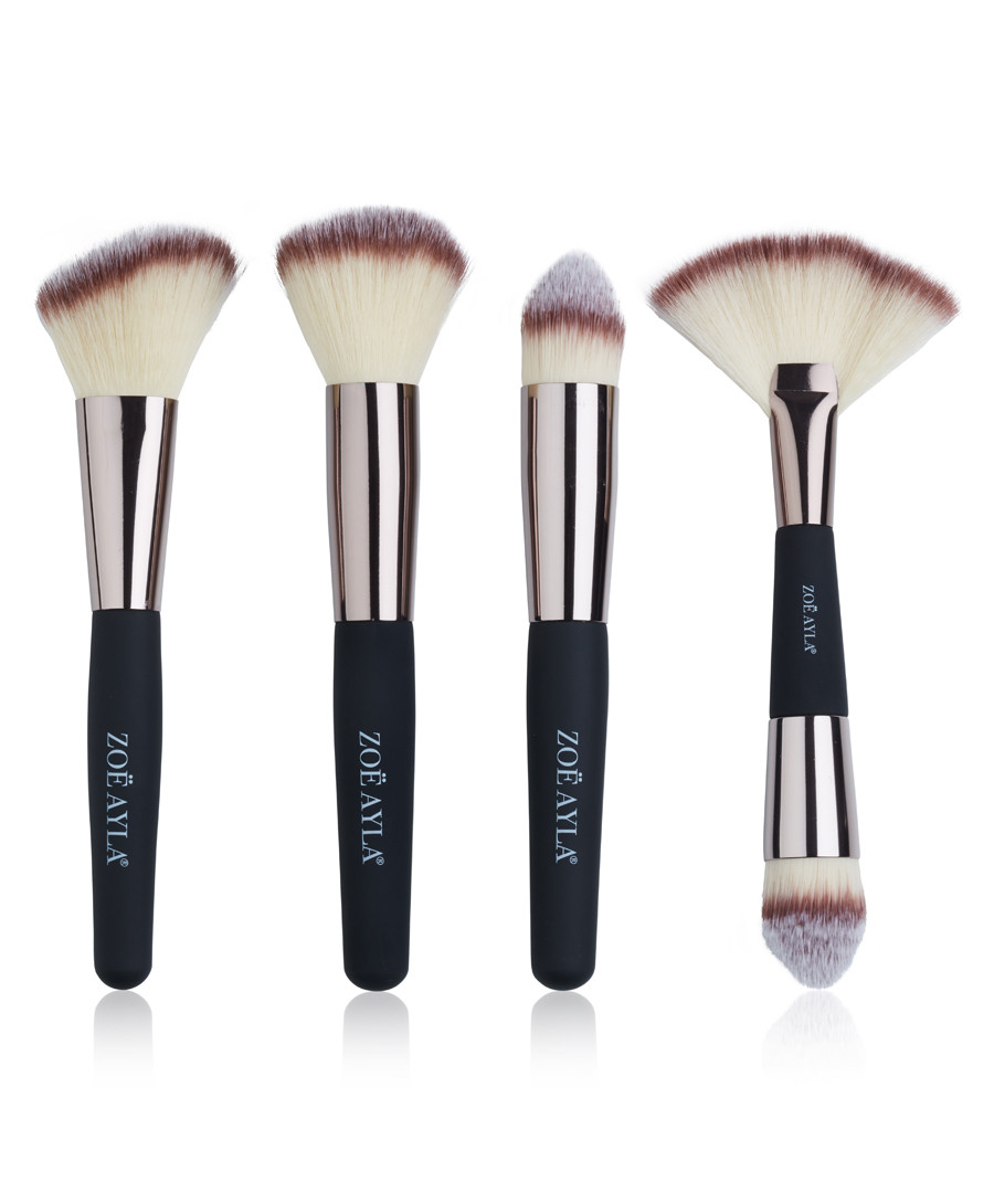 4pc black & beige make-up brush set Sale - zoe ayla
