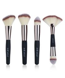 4pc black & beige make-up brush set