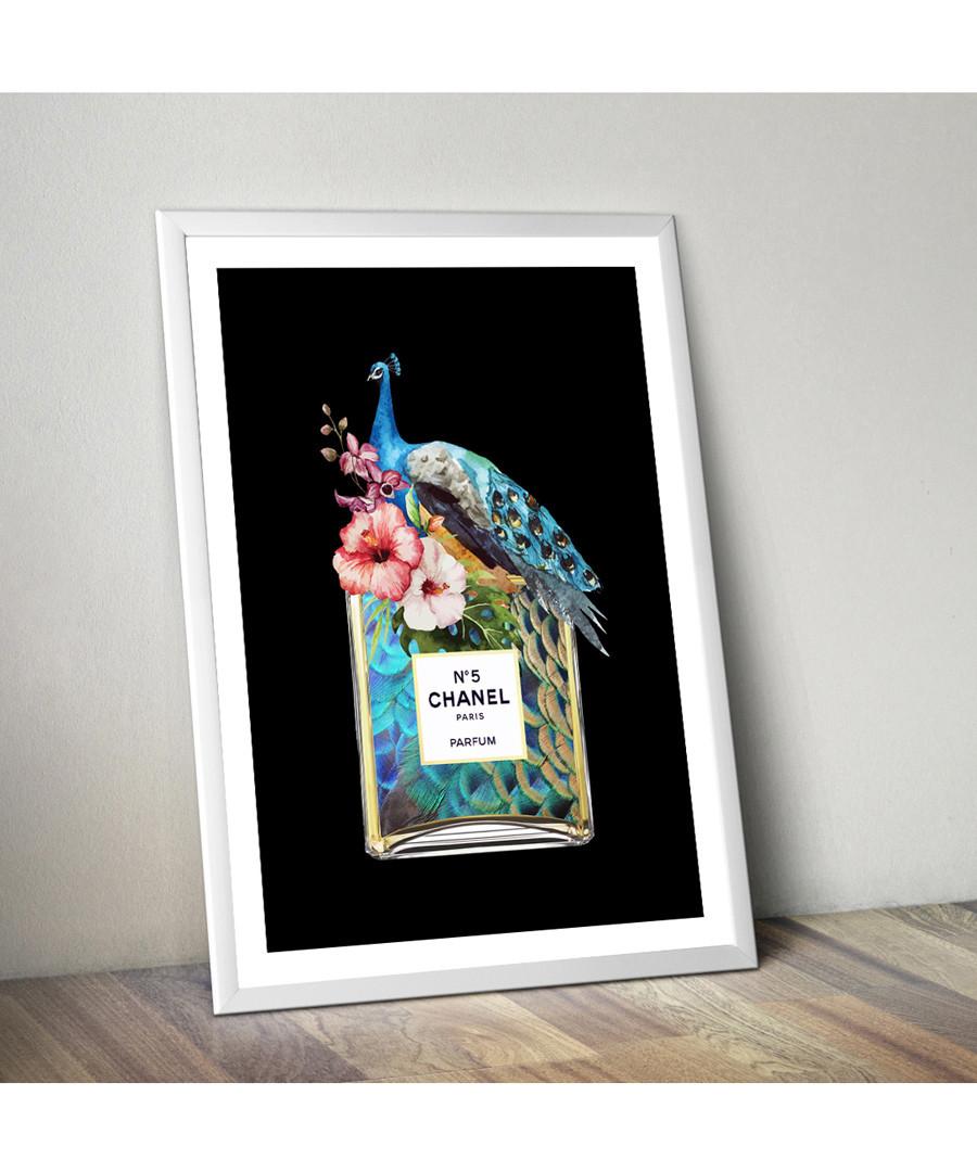 Discount Peacock Perfume white framed print | SECRETSALES