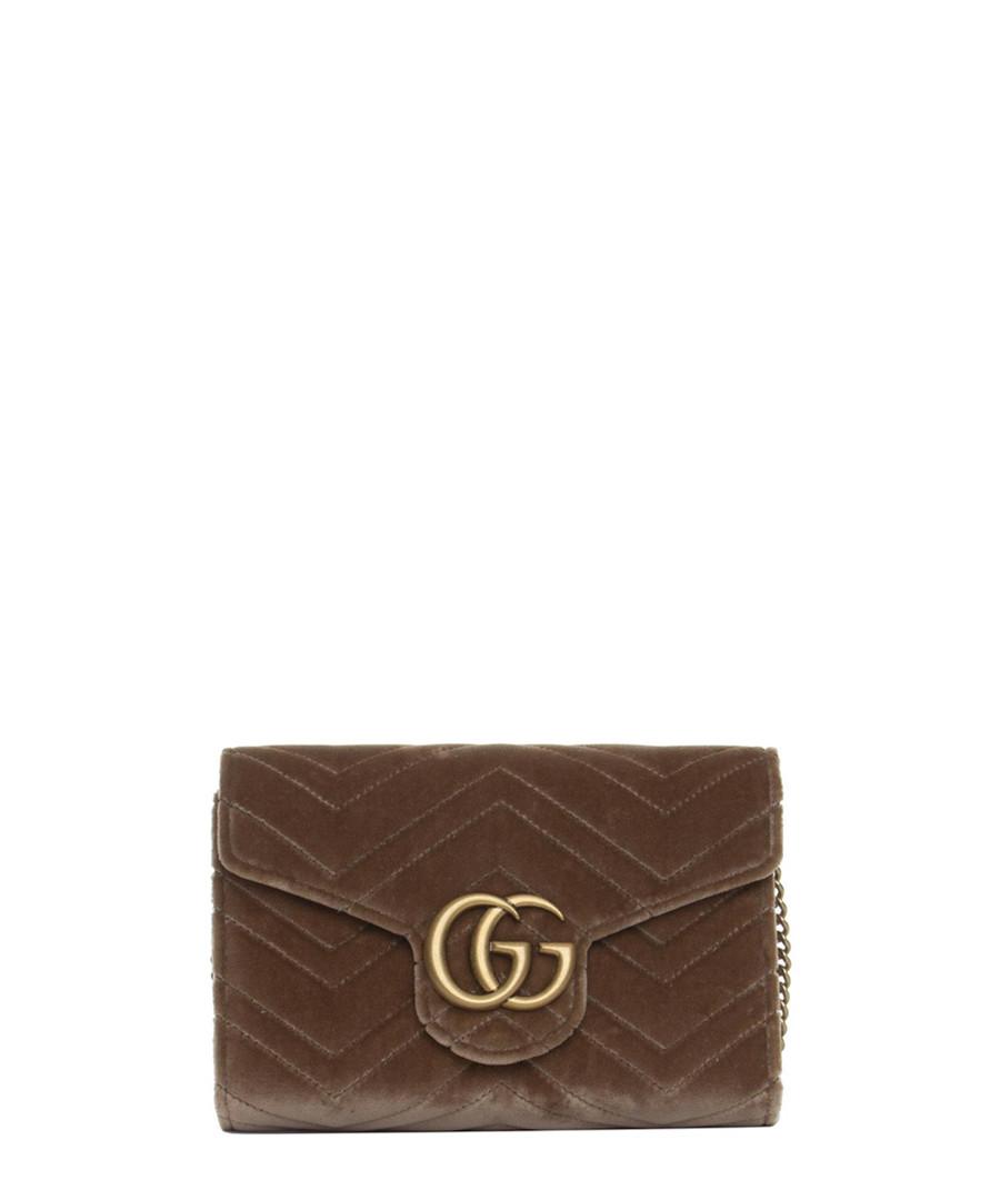Marmont taupe velvet wallet Sale - Gucci