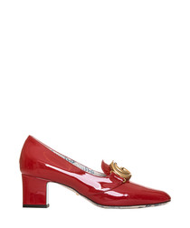Red patent leather logo heels