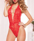 Red lace plunge bodysuit Sale - seven till midnight Sale