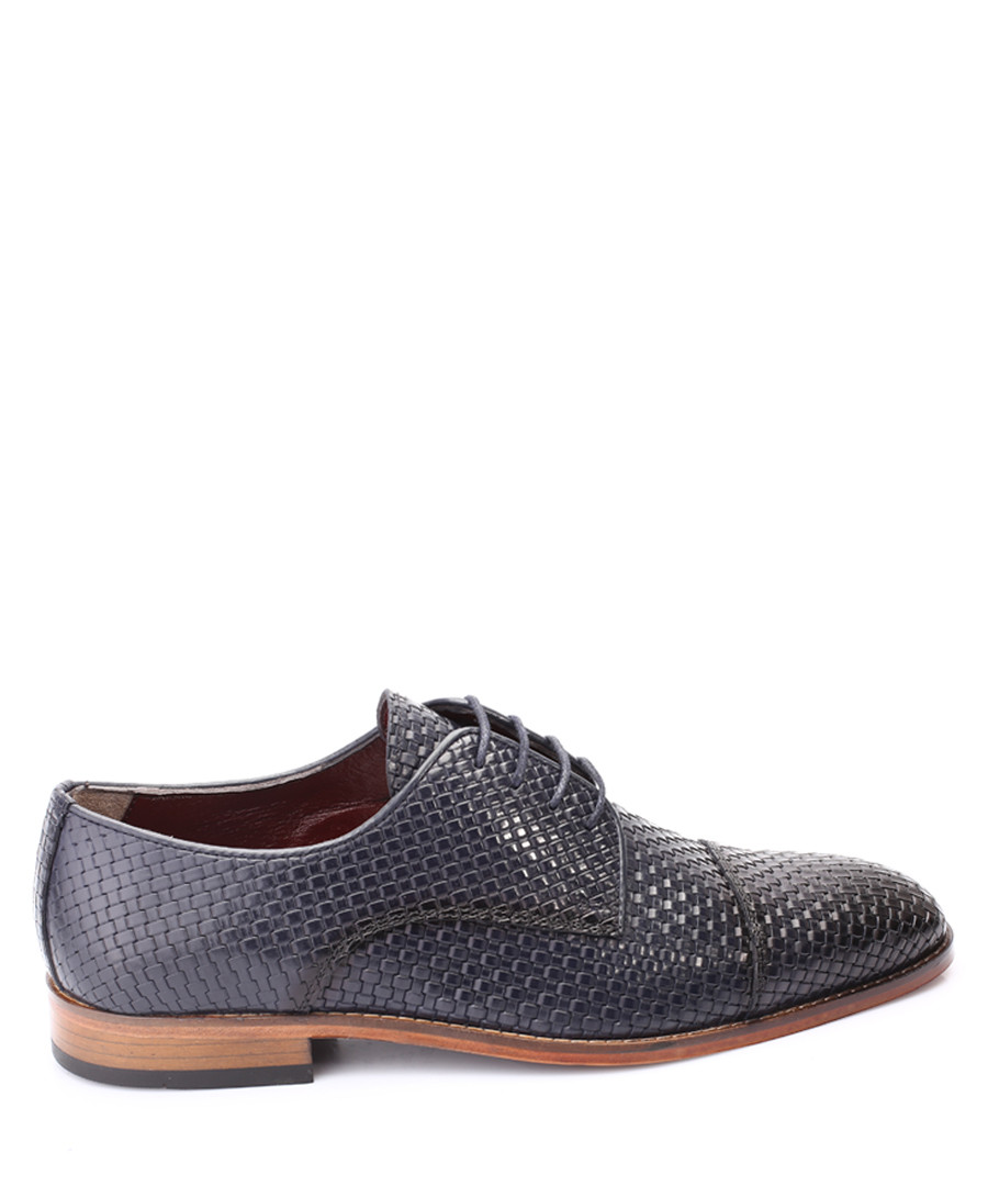 Dark blue leather woven Oxfords Sale - s baker