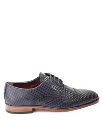 Dark blue leather woven Oxfords