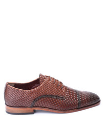 Tan leather woven Oxfords