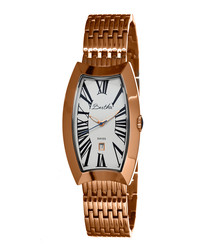 Laura rose gold-tone oval steel watch