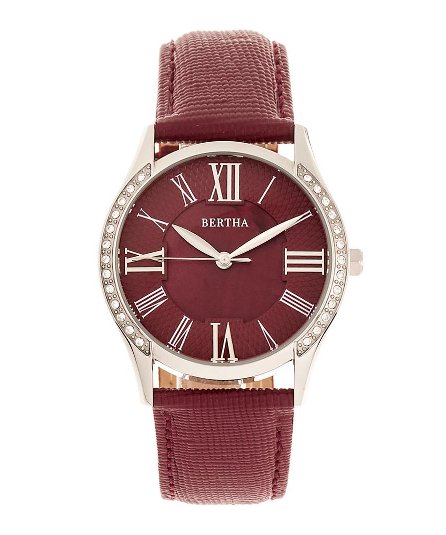 Sadie silver-tone steel & burgundy watch Sale - bertha
