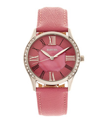 Sadie silver-tone & pink leather watch