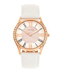 Sadie white & rose gold-tone steel watch