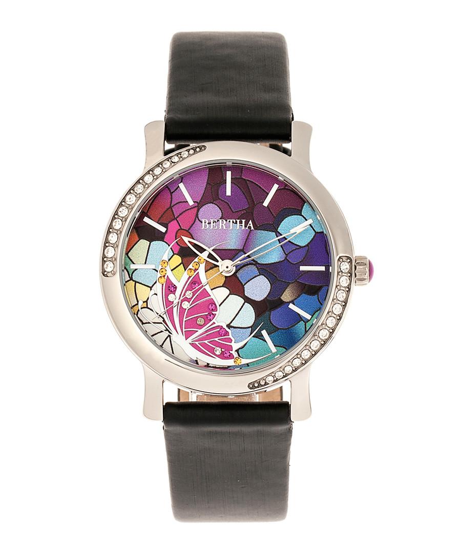 Vanessa steel & black leather watch Sale - bertha