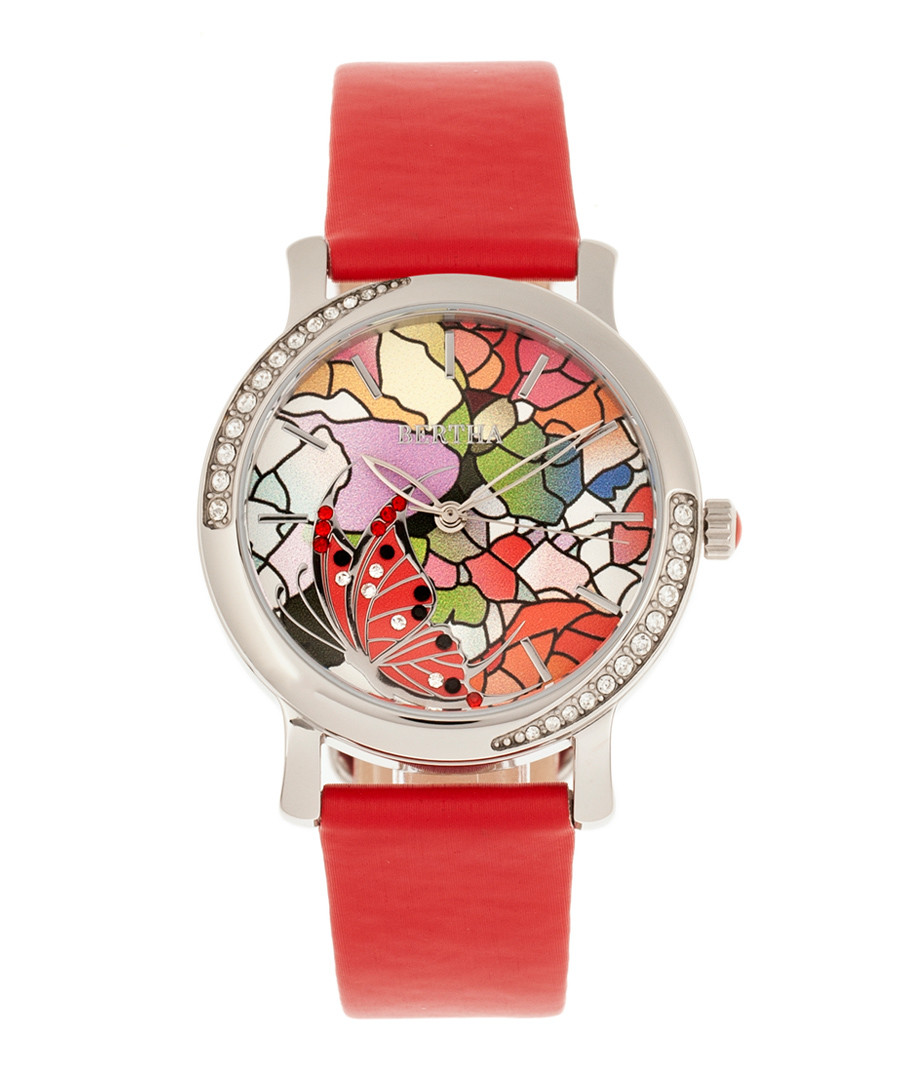 Vanessa silver-tone & red leather watch Sale - bertha