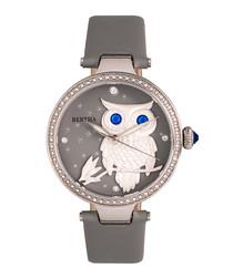 Rosie grey leather owl watch