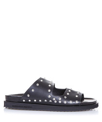 Black studded sliders
