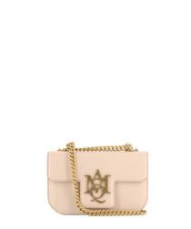Pink leather flap shoulder bag