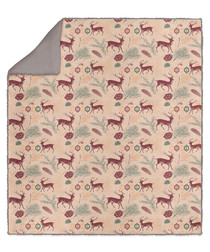 Multi-colour deer print throw