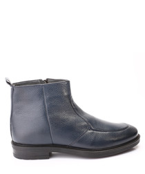 Dark blue leather ankle boots