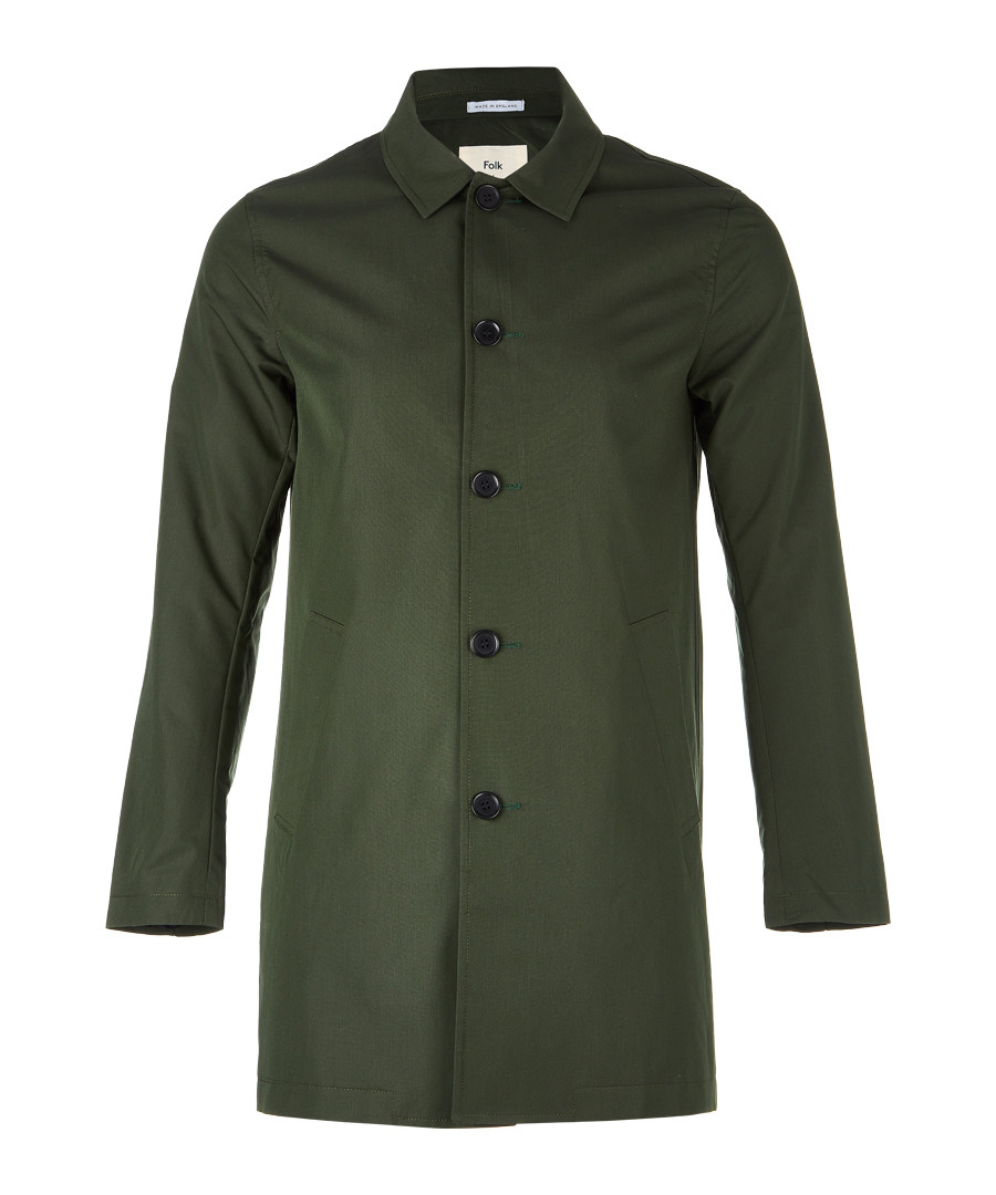 Olive cotton blend mackintosh Sale - FOLK