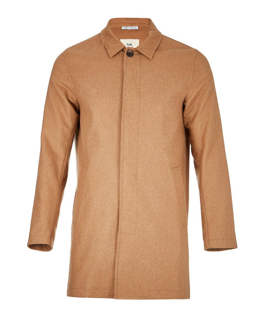 Camel wool blend hidden button coat Sale - FOLK