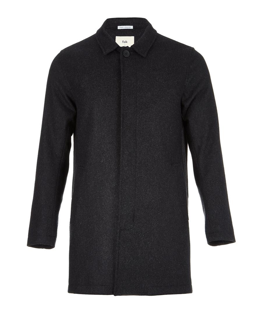 Charcoal wool blend hidden button coat Sale - FOLK