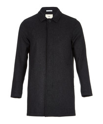 Charcoal wool blend hidden button coat