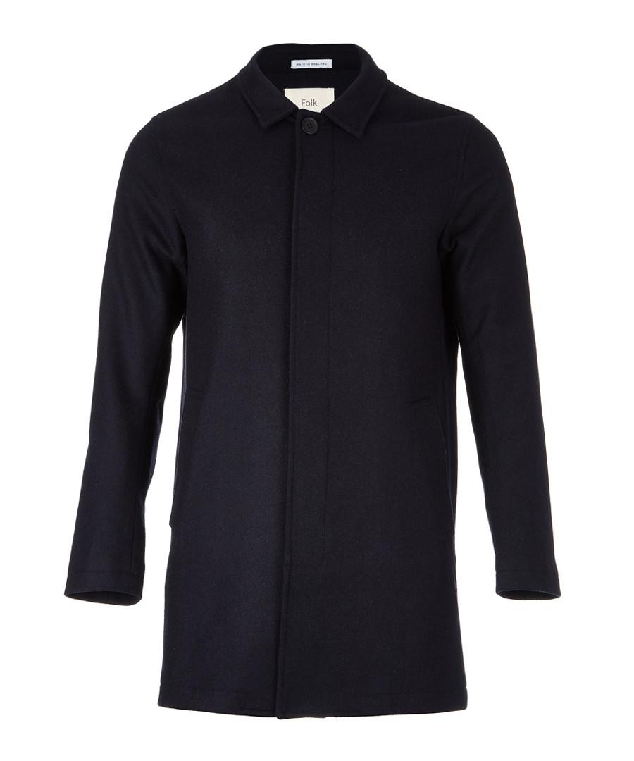 Navy wool blend hidden button coat Sale - FOLK