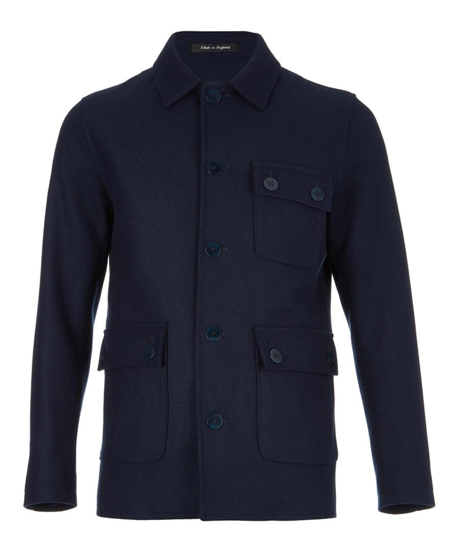 Indigo wool blend pocket peacoat Sale - FOLK