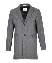 Grey wool blend lapel coat
