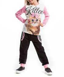 2pc kitten print cotton blend outfit set
