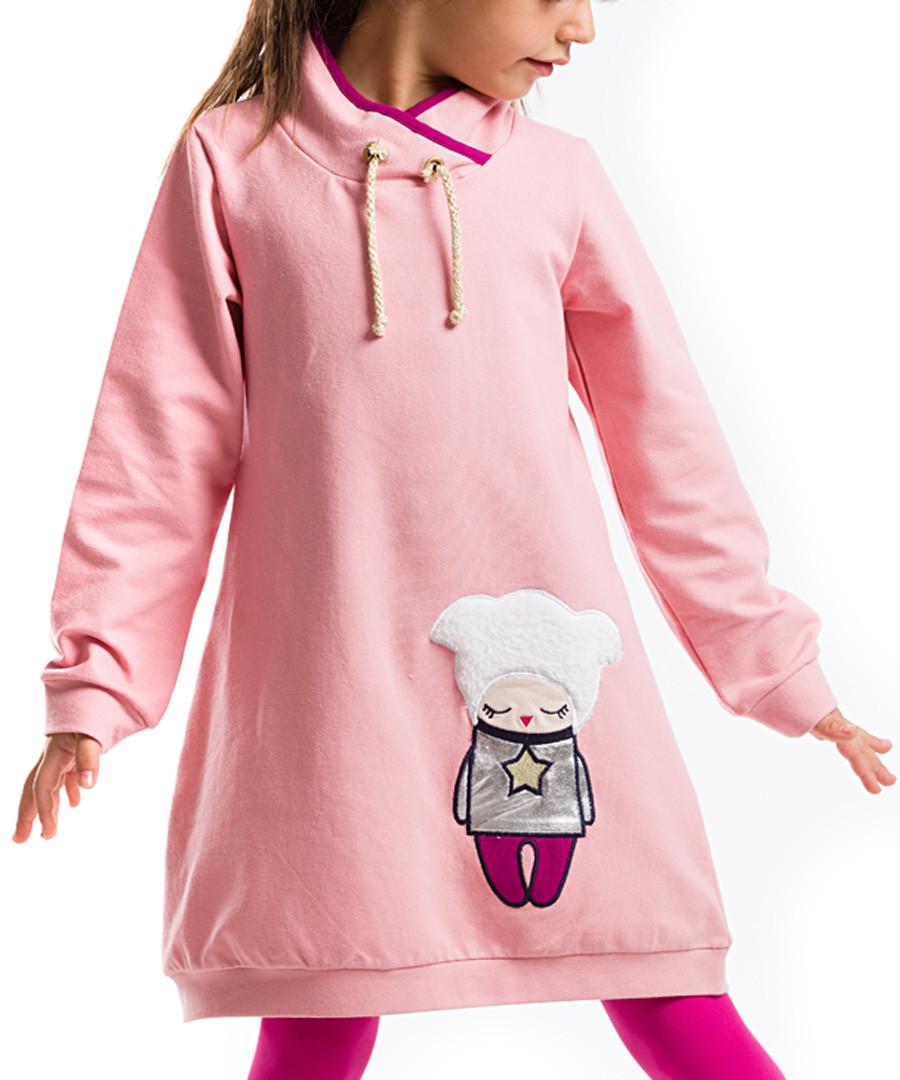 Pink print cotton blend hoodie dress Sale - Mushi