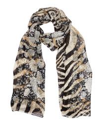 Zebra print & floral pure silk scarf
