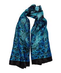 Blue pure silk brocade scarf