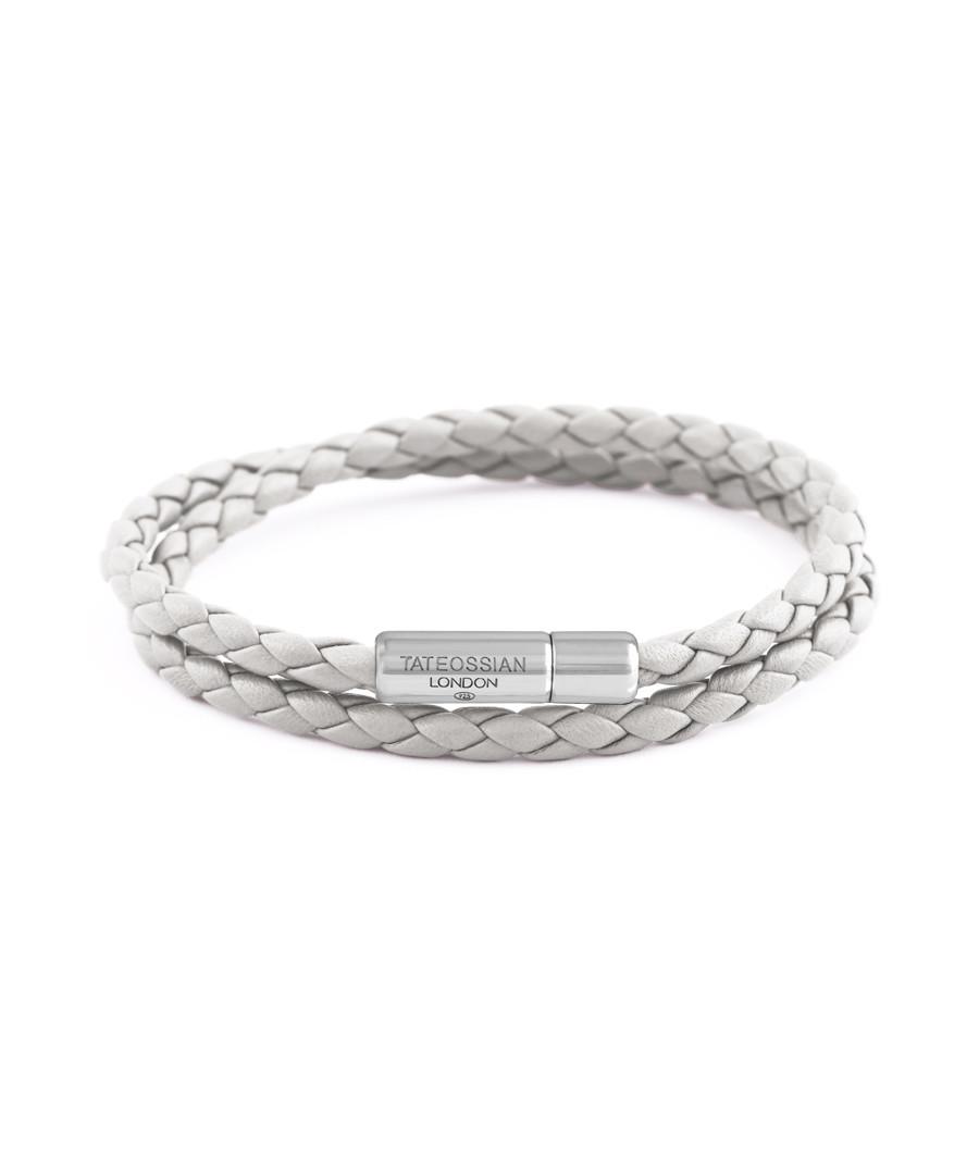 Sterling silver leather braided bracelet Sale - Tateossian London