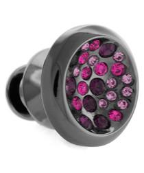Gunmetal & purple Swarovski pin
