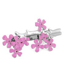 Cherry Blossom pink rhodium-plated clip
