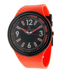 Orange & black steel watch