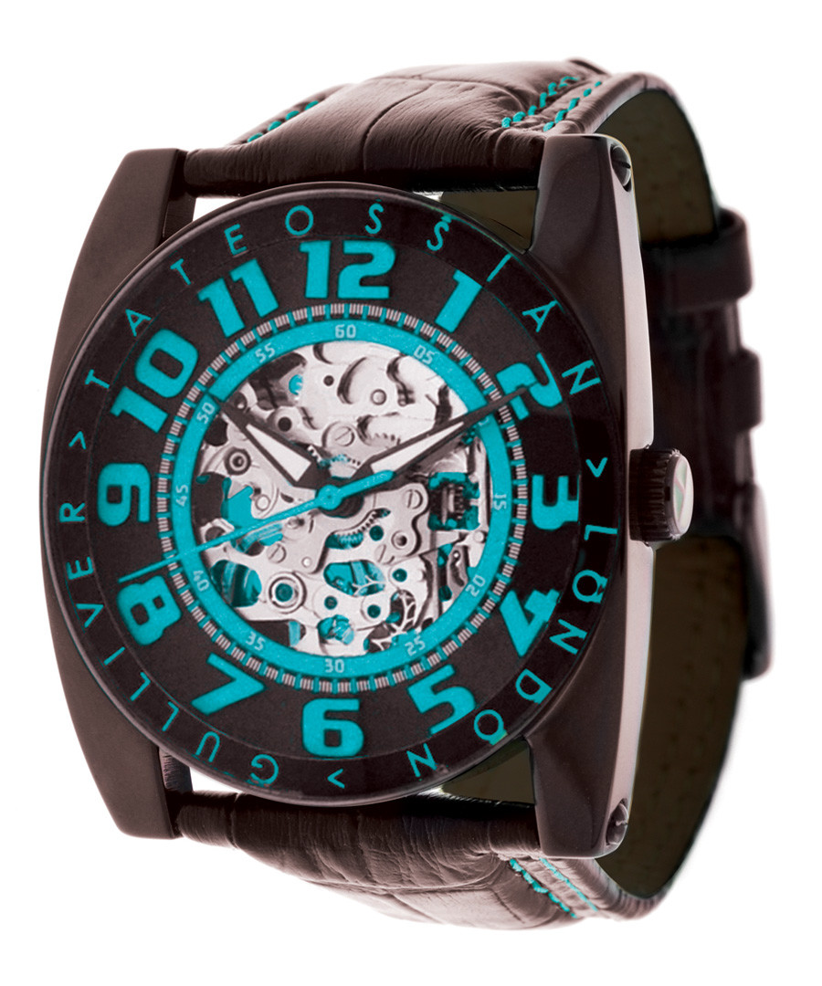 Blue & black leather skeleton watch Sale - Tateossian London