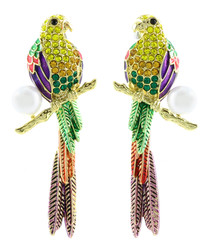 14ct gold-plated parakeet earrings